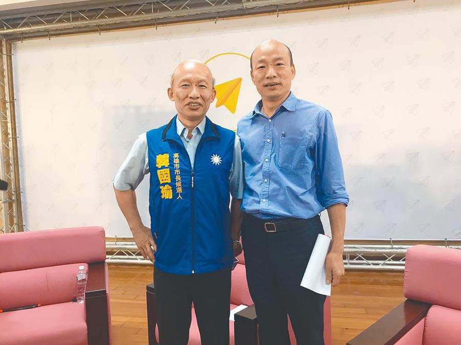 郭子乾(左)模仿韓國瑜維妙維肖,連本尊都說像。