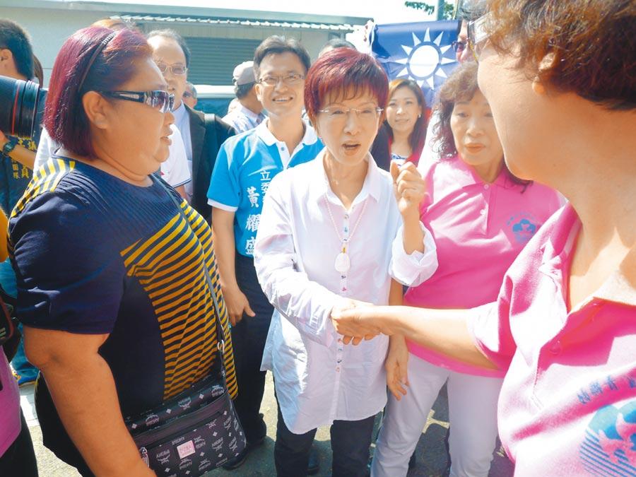 8月10日,前國民黨主席洪秀柱遷戶籍到台南市東區,準備挑戰尋求立委連任的王定宇,激起藍營士氣。(本報系資料照片)