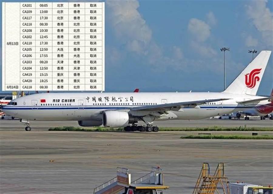 國航發布取消往來香港航班通告(圖/翻攝自東網)