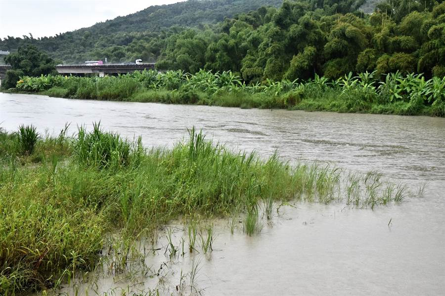 二仁溪水位因為大雨,比平常水位要滿。(林瑞益攝)