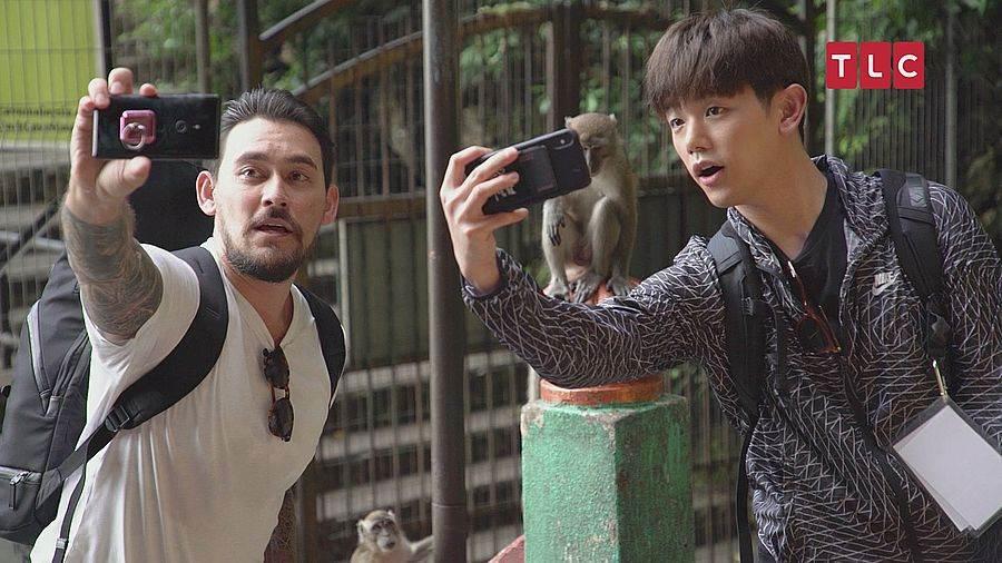 馬來西亞知名景點「黑風洞」朝聖、和猴子自拍。(圖取自TLC旅遊生活頻道官網)
