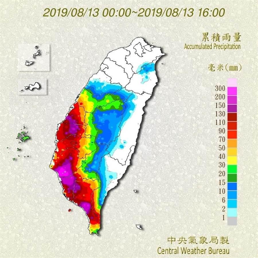 氣象局表示,今天中南部豪雨,明天稍緩,周四、五恐有大豪雨。(圖/取自氣象局網頁)
