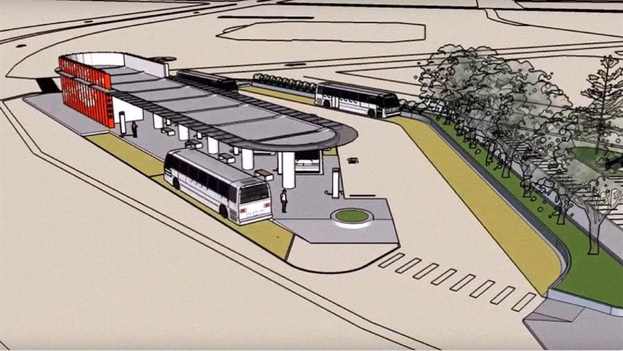 預計明年3月啟用的「朴子轉運站」模擬圖。(嘉義縣政府提供)