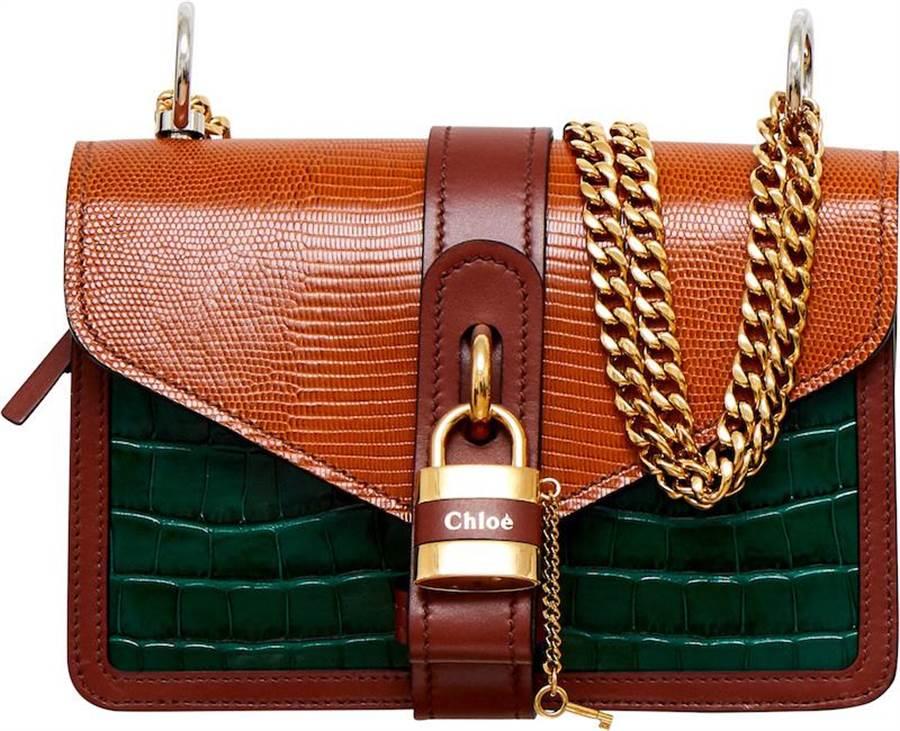 Chloe Aby Chain綠棕色拚接鎖頭鍊帶包,7萬3800元。(Chloe提供)
