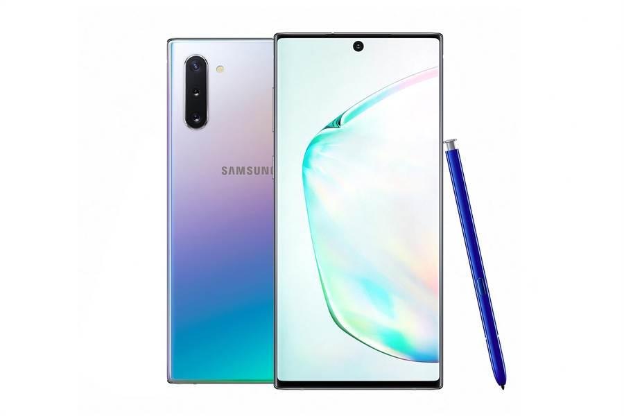 三星全新Galaxy Note10共推出星環銀、星環白 2色,8GB/256GB 定價3萬1900元。(三星提供)
