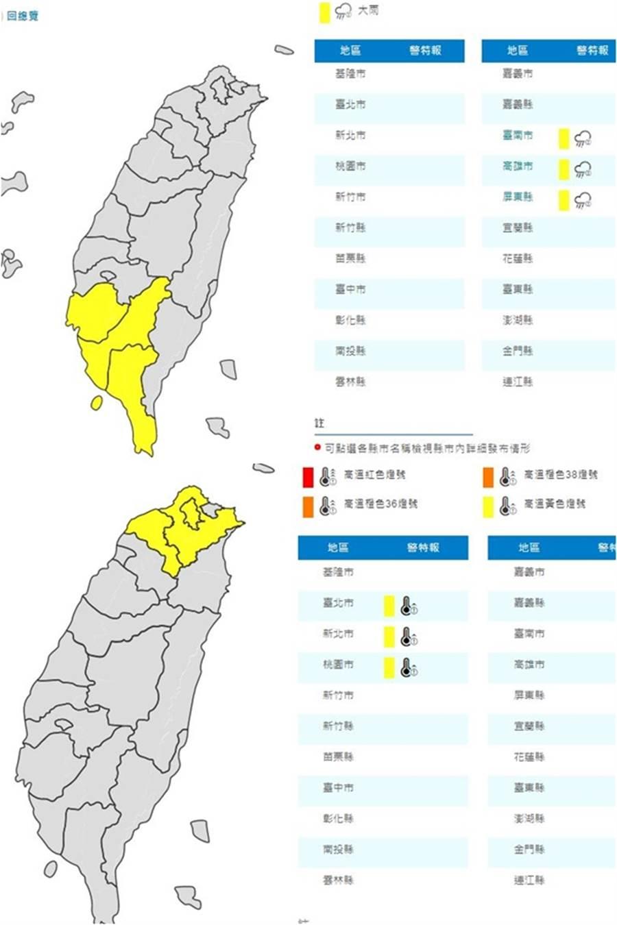 上圖:周三(14日)清晨,中南部地區包括臺南、高雄及屏東仍易有短時強降雨。下圖:臺北市、新北市高溫資訊。(圖/氣象局)