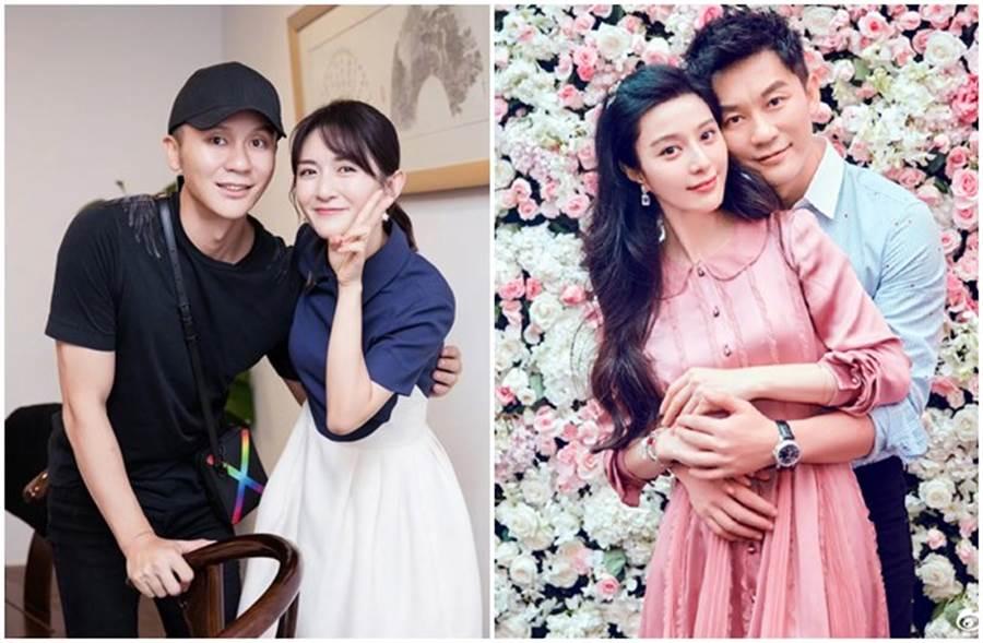 李晨與謝娜合照(左圖),暴瘦模樣驚呆粉絲。(取自微博)