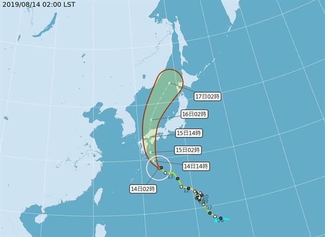 柯羅莎颱風明天將登陸日本,欲赴日旅遊活動的國人要小心。(圖/取自氣象局網頁)