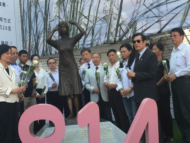 814國際慰安婦紀念日,前總統馬英九今天到台南參加追思會。(曹婷婷攝)