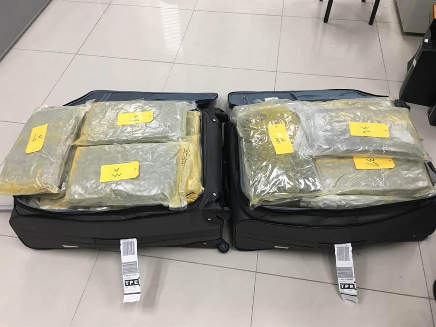 警方與關務署在桃園機場攔查到行李箱夾藏大麻企圖走私入境。(胡欣男翻攝)