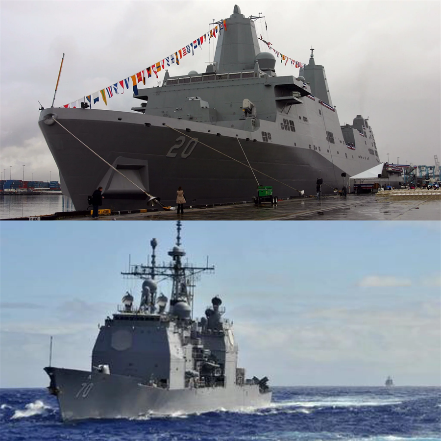 上圖為兩棲攻擊艦「綠灣」號(LPD-20)和下圖為巡洋艦「伊利湖」號(CG-70)。(圖片取自網路)