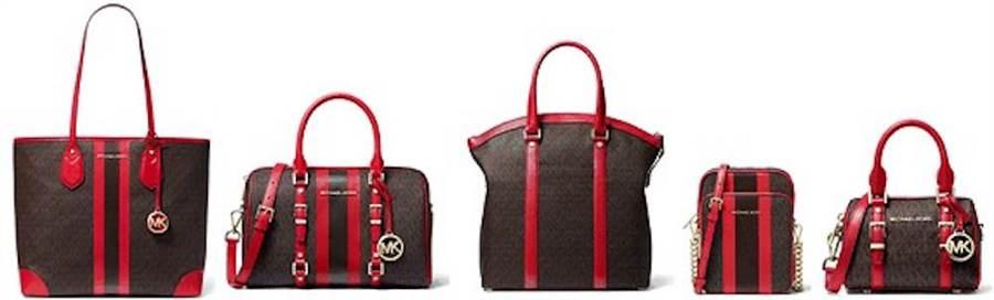 右起:Bedrord Travel系列迷你波士頓包9100元,隨身小包1萬800元,托特肩包2萬600元,波士頓包1萬7800元。(Michael Kors提供)
