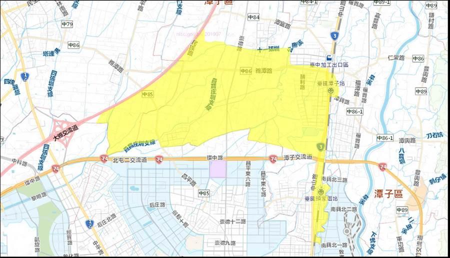 配合潭子區外環路一號道路∮1000公釐SP遷移工程停水影響區域示意圖。(圖/台中市府提供)