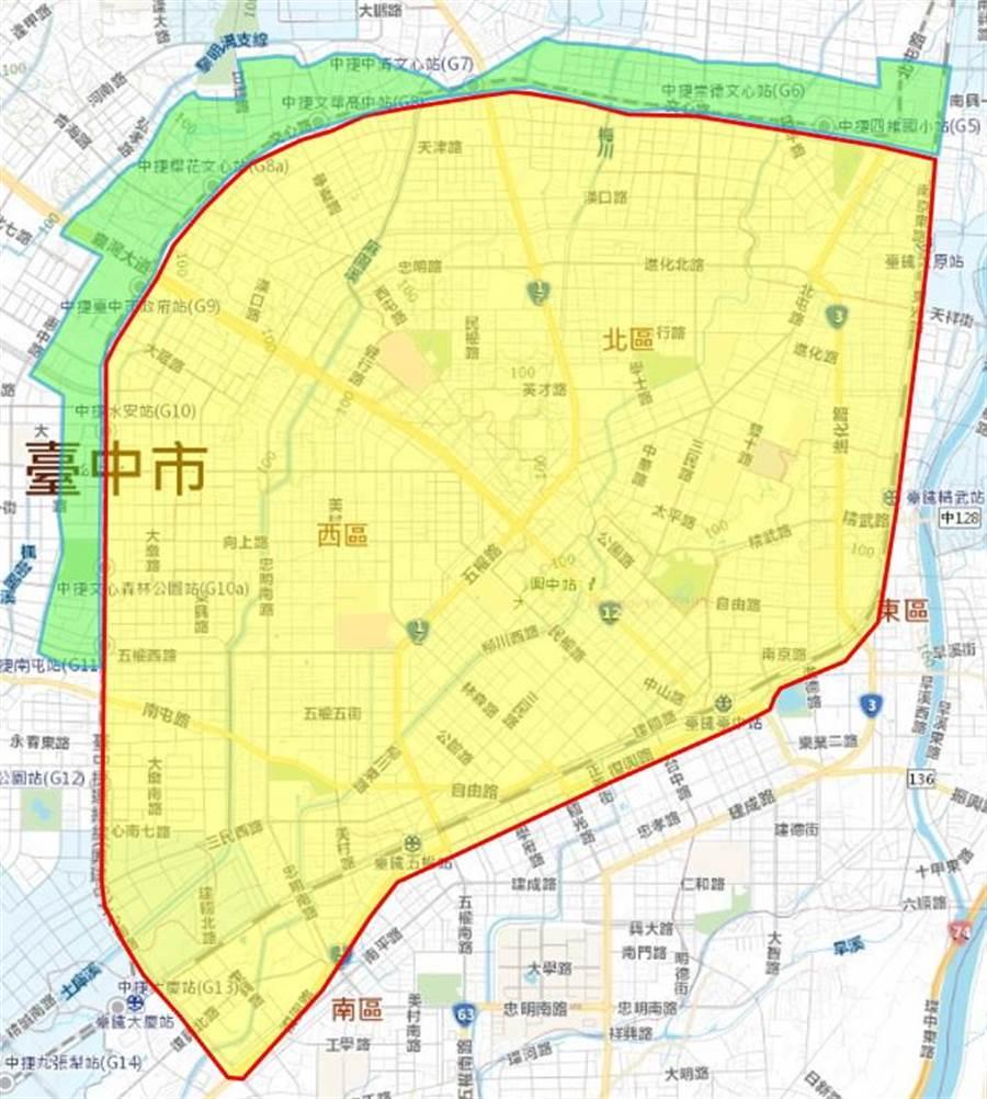 台中市北屯區∮1350公釐 PSCP送水幹管檢修作業停水影響區域示意圖。(圖/台中市府提供)