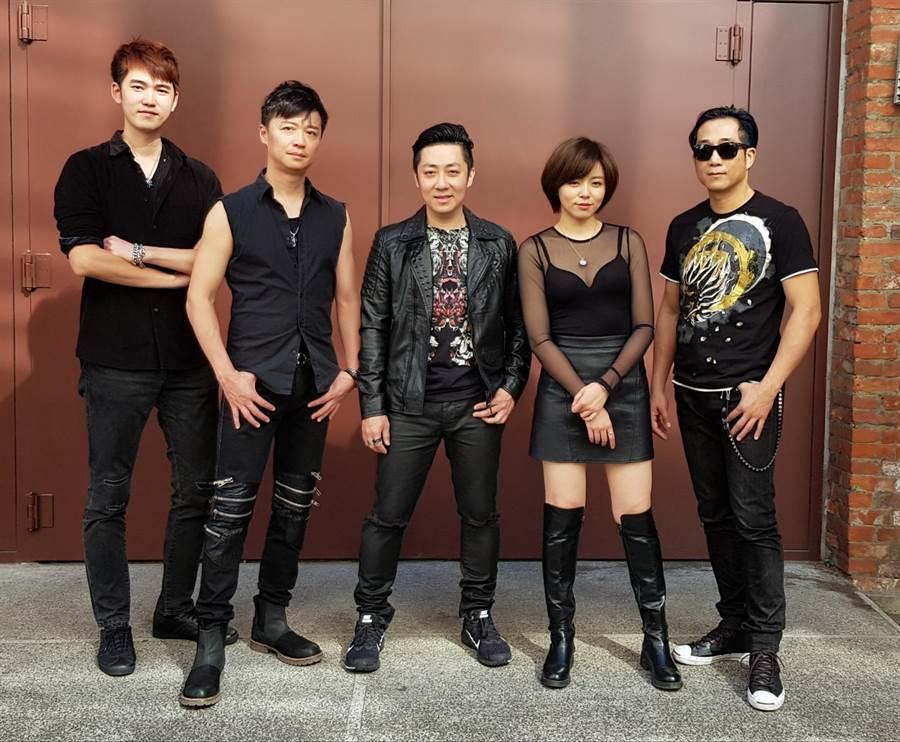 87樂團由阿修羅(右起)、王瞳、艾成、何豪傑、樂咖組成。(樂音唱片提供)