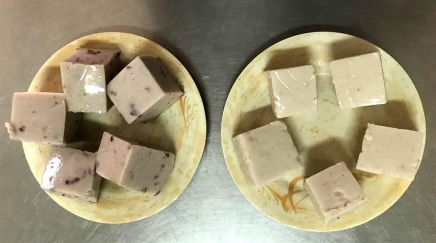 埔里點心王非常有特色的招牌點心御品芋香糕、椰汁紅豆糕,吃起來冰冰涼涼,且軟嫩如豆腐般,入口即化。(楊樹煌攝)