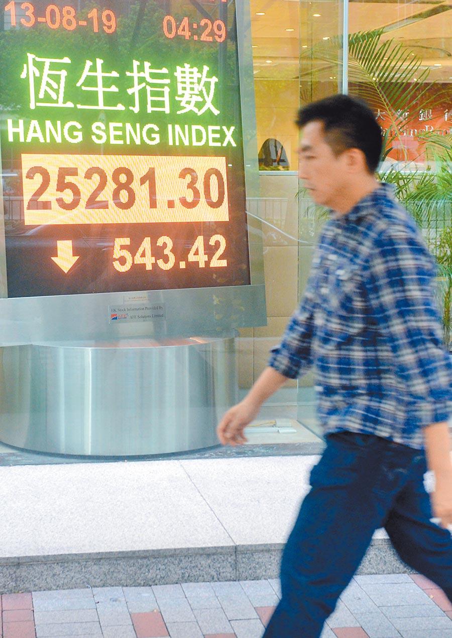8月13日,香港恆生指數收市報25,281.30點,下跌543.42點。(中新社)