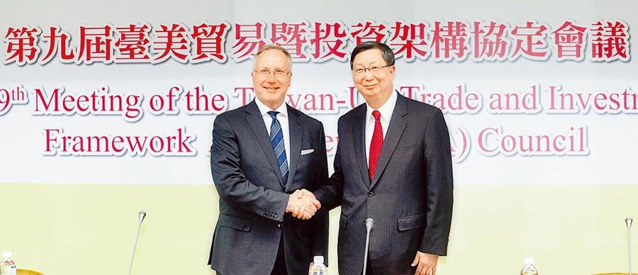 台美貿易暨投資架構協定(TIFA)已經兩年沒有召開,圖為2015年10月1日TIFA會議登場畫面。(本報系資料照片)