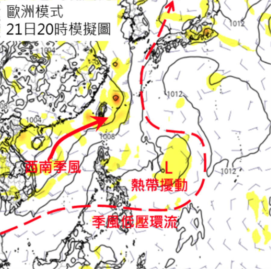 在大「季風低壓」環流內,西南季風影響台灣;菲律賓東方海面,有熱帶擾動(L)發展的跡象。(右圖擷自tropical tidbits)