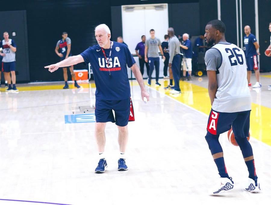 馬刺總教練帕波維奇領軍的美國男籃,竟在隊內練習賽兩度輸給陪練隊。(取自NBA官推)