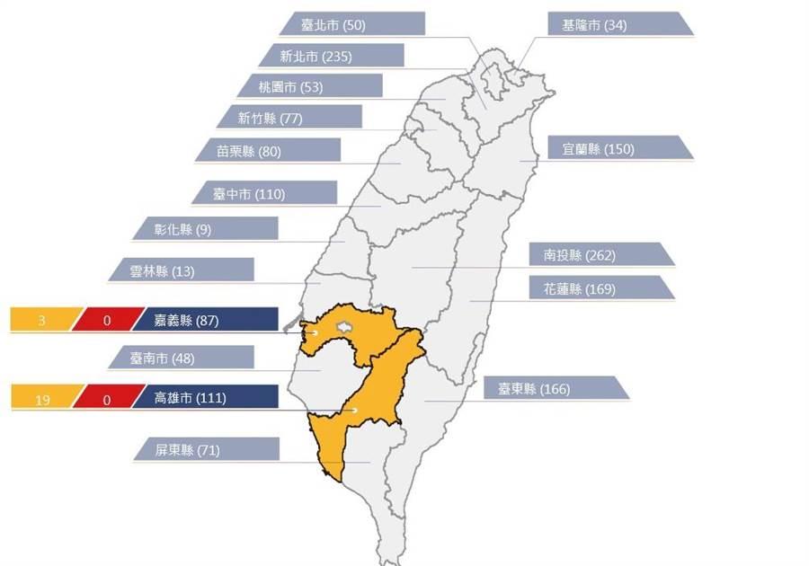 農委會水保局針對嘉義縣、高雄市境內22條土石流潛勢溪流發布黃色警戒。(取自土石流防災資訊網)