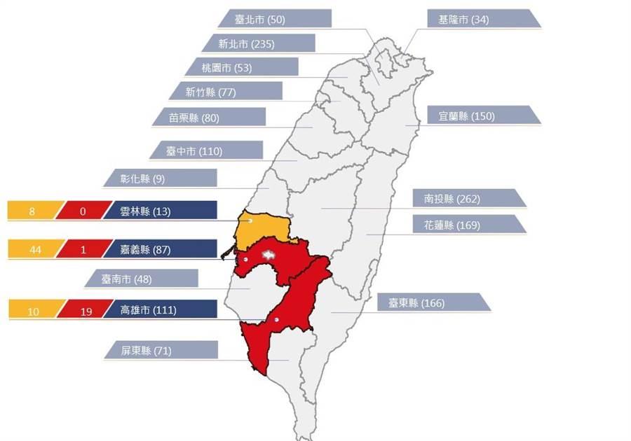 農委會水保局針對嘉義縣、高雄市境內20條土石流潛勢溪流發布紅色警戒。(取自土石流防災資訊網)