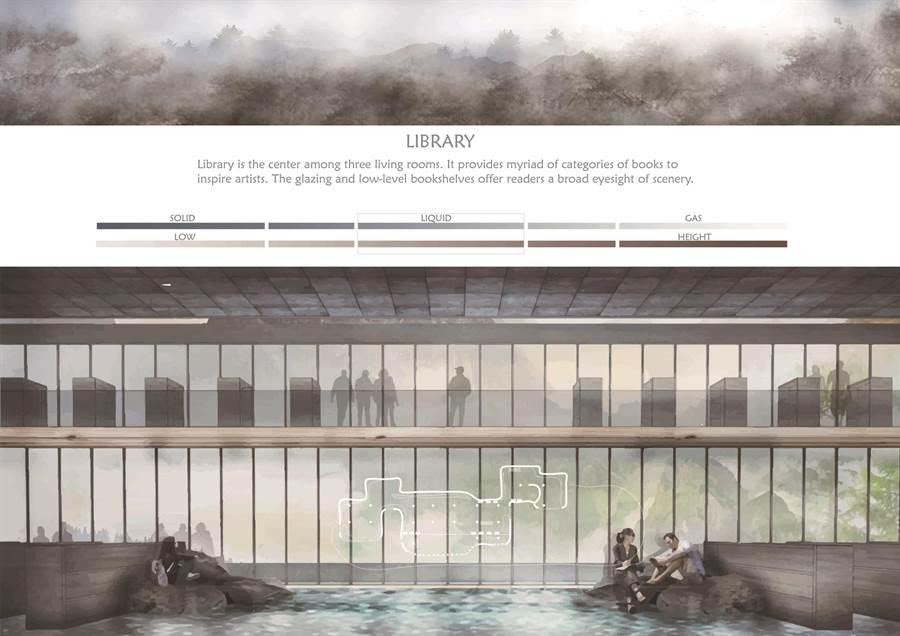 台科大建築系團隊以水的三態變化呈現不同的空間氛圍,提供藝術家放鬆的思考環境,激發創作靈感。(台科大提供)