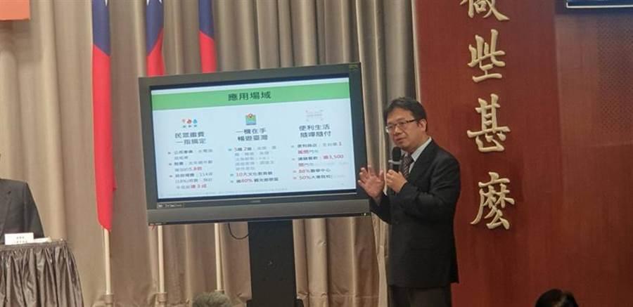 國發會產業處長詹方冠說明行動支付衝刺對策,圖/呂雪彗攝