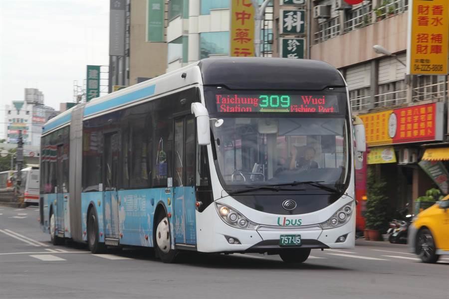 交通局17日起309路公車擴大營運服務時間,遊高美溼地搭公車最便利。(陳世宗攝)