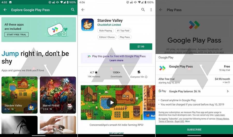 Google Play Pass 相關服務截圖。(圖/翻攝Android Police)