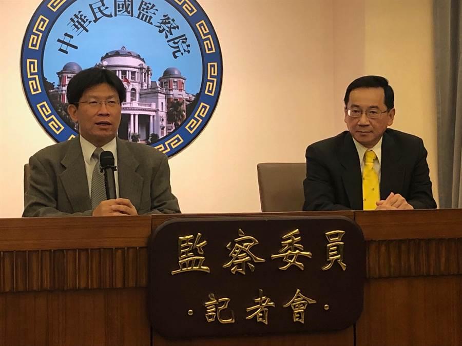 監委張武修與高涌誠今天舉行記者會提出東奧正名公投調查報告。