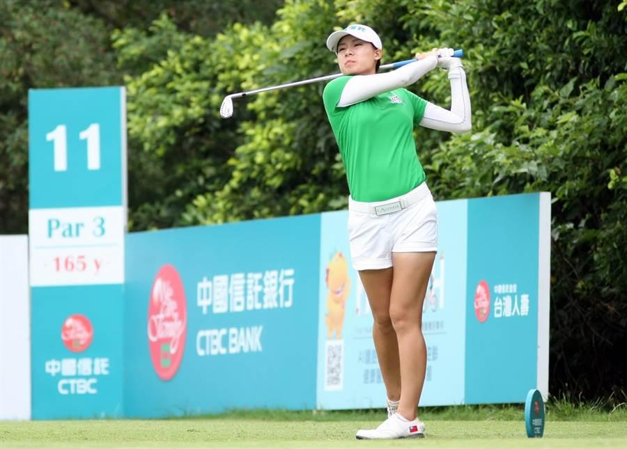 中國信託女子公開賽台灣業餘選手侯羽桑以69桿暫時並列領先。(大會提供)