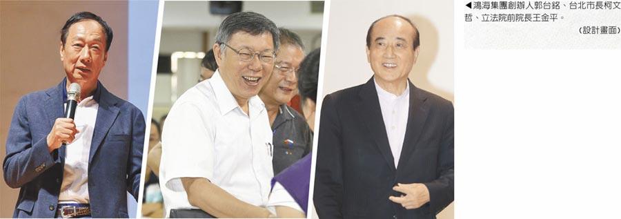 鴻海集團創辦人郭台銘、台北市長柯文哲、立法院前院長王金平。(設計畫面)