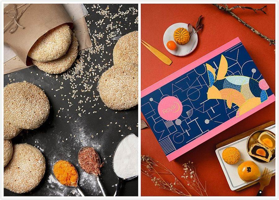 翻玩台灣新味的創意月餅_麻吉餅(左)、「彩月」蛋黃酥禮盒、「八巧」廣式月餅禮盒(右)。(圖取自台南老爺行旅官網)