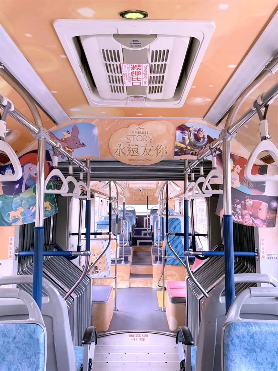 台中市府為鼓勵民眾搭乘大眾交通運具,市府特別與台灣迪士尼合作,打造全國唯一的《 迪士尼永遠友你》主題彩繪雙節公車。(盧金足攝)