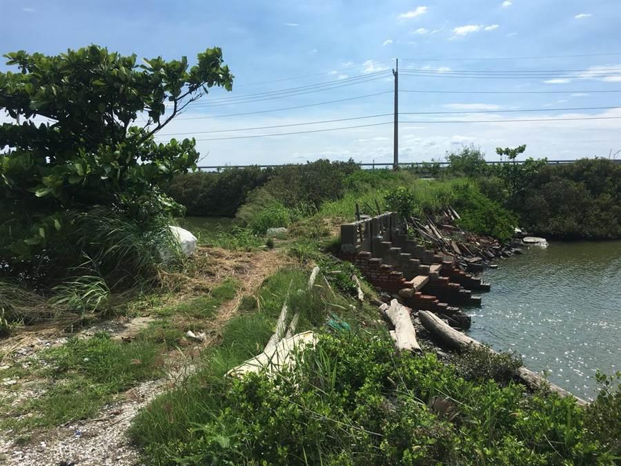 七股區部分舊式閘門已無法防止外水入侵,將重新改建為鋼筋混凝土結構的新閘門。(劉秀芬翻攝)