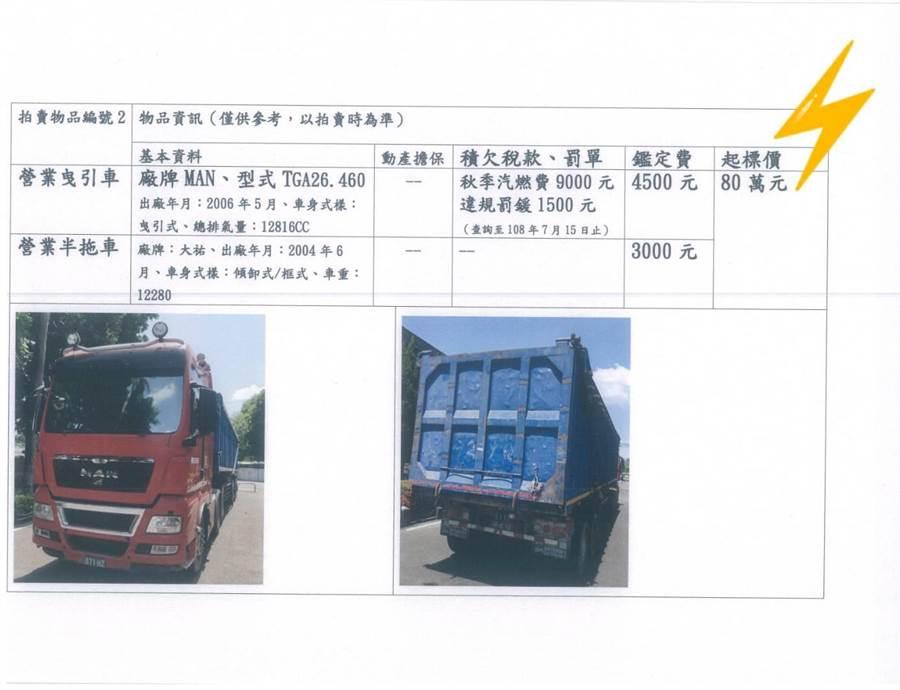 雲林地檢署將拍賣的曳引車。(檢方提供)