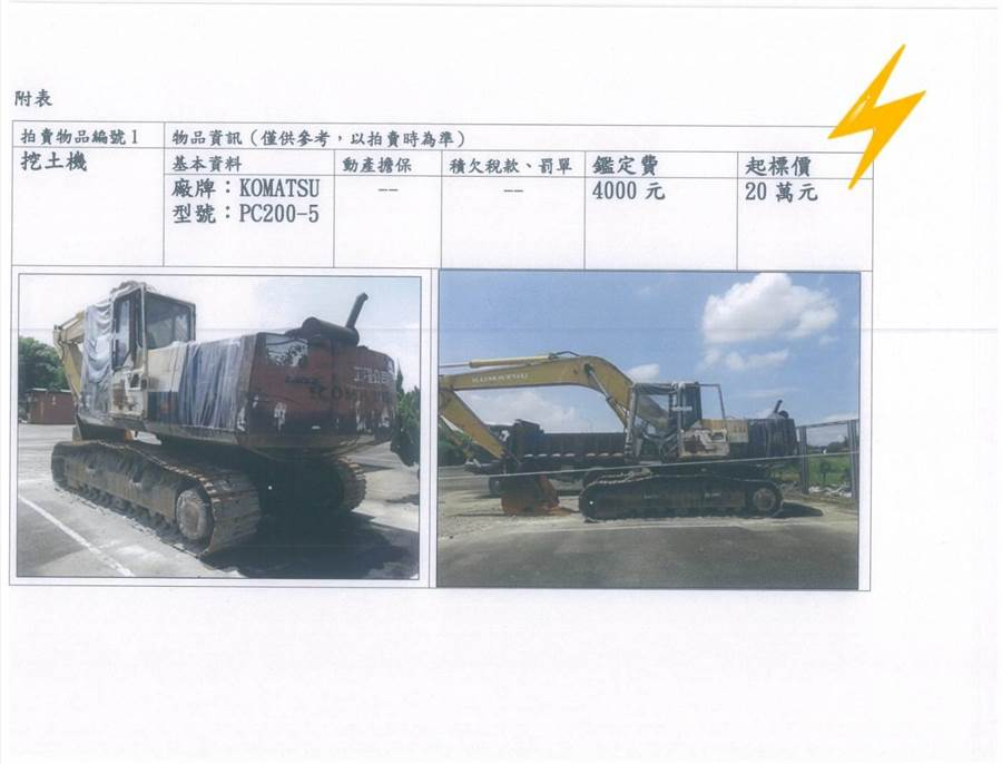雲林地檢署將拍賣的挖土機。(檢方提供)