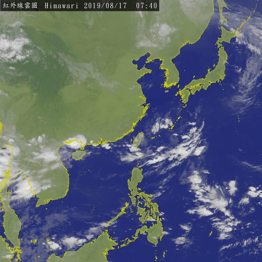 台灣上空。(衛星雲圖/翻攝中央氣象局)