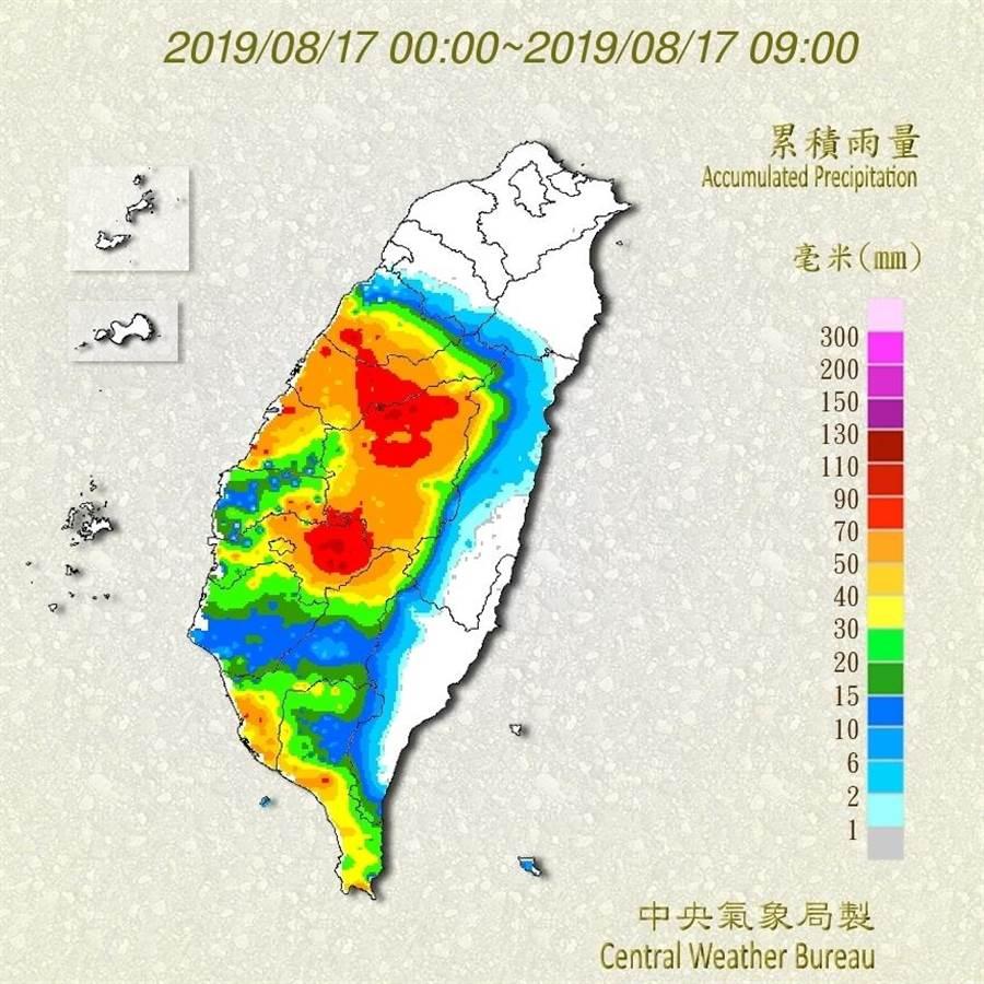 氣象局表示,今天以苗栗至嘉義累積雨量最多。(圖/取自氣象局網頁)