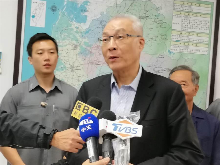 國民黨主席吳敦義參觀台南南化水庫時表示,與郭台銘會面主要希望能促成團結。(劉秀芬攝)