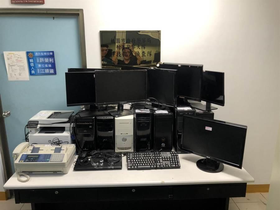 警方查扣電腦機組,並逮捕到6名嫌犯。(甘嘉雯翻攝)