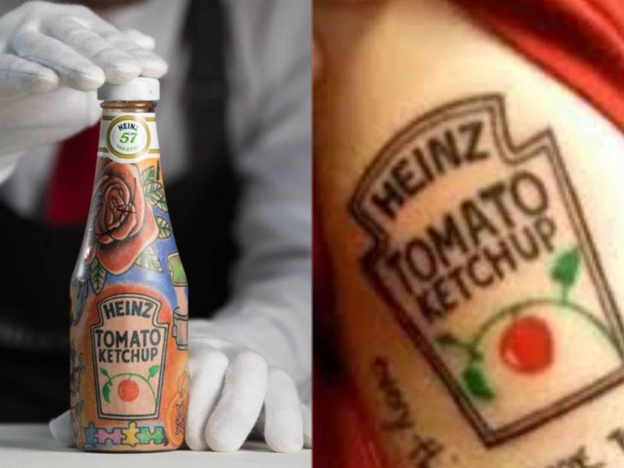 紅髮艾德將番茄醬logo刺在身上。(翻攝自網路)