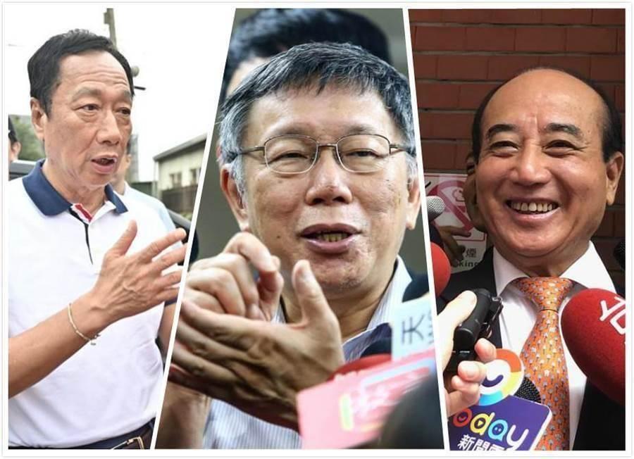 鴻海前董事長郭台銘(左)、台北市長柯文哲(中)、前立法院長王金平(右)。(圖/合成圖)