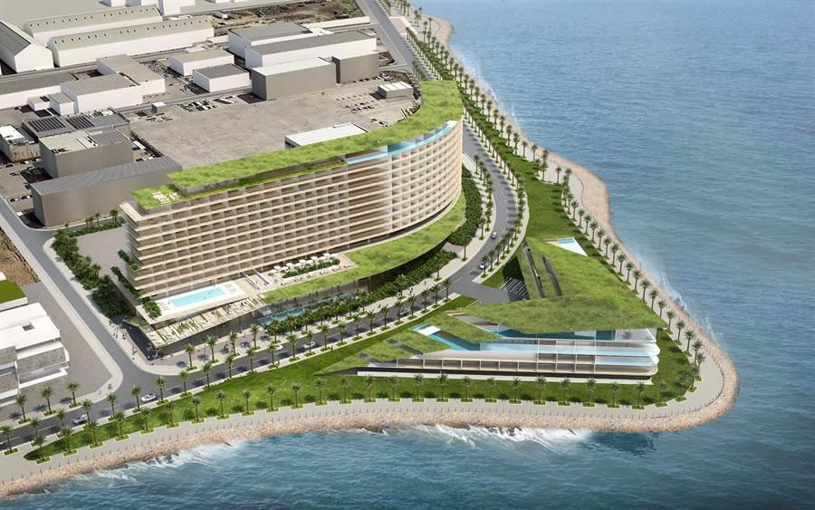 嘉新插旗沖繩的豐崎溫泉度假酒店外觀模擬圖。(圖:嘉新企業團提供)