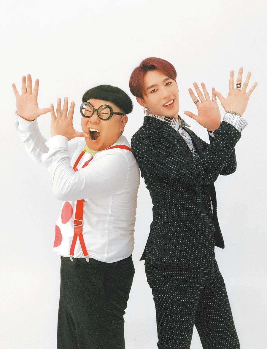 黃昺翔新歌〈喇叭La啦〉MV邀請「蜆仔」劉俊峰(左)跨刀出演。