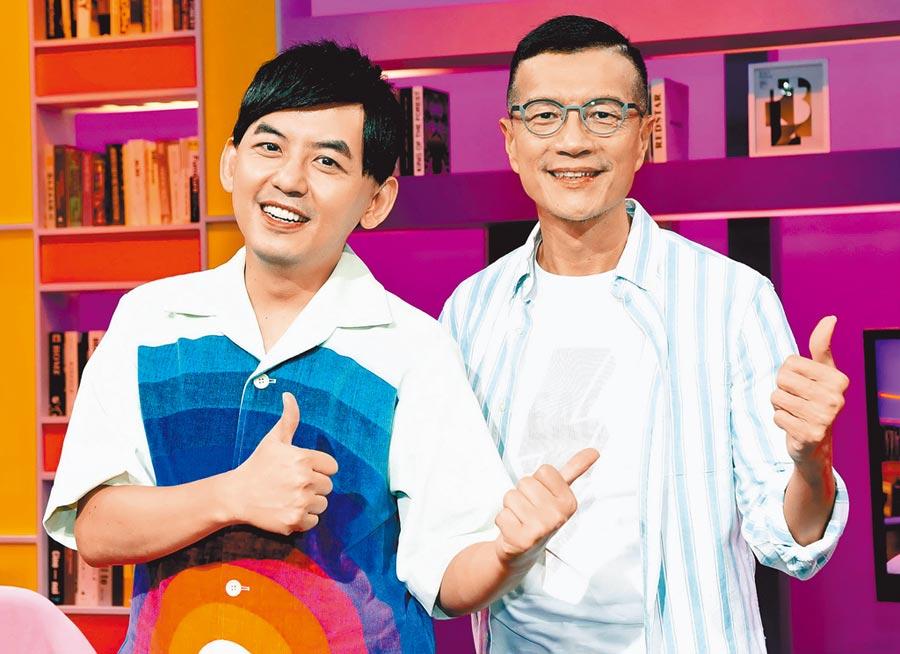 黃子佼(左)昨擔任吳若權新節目首集來賓。