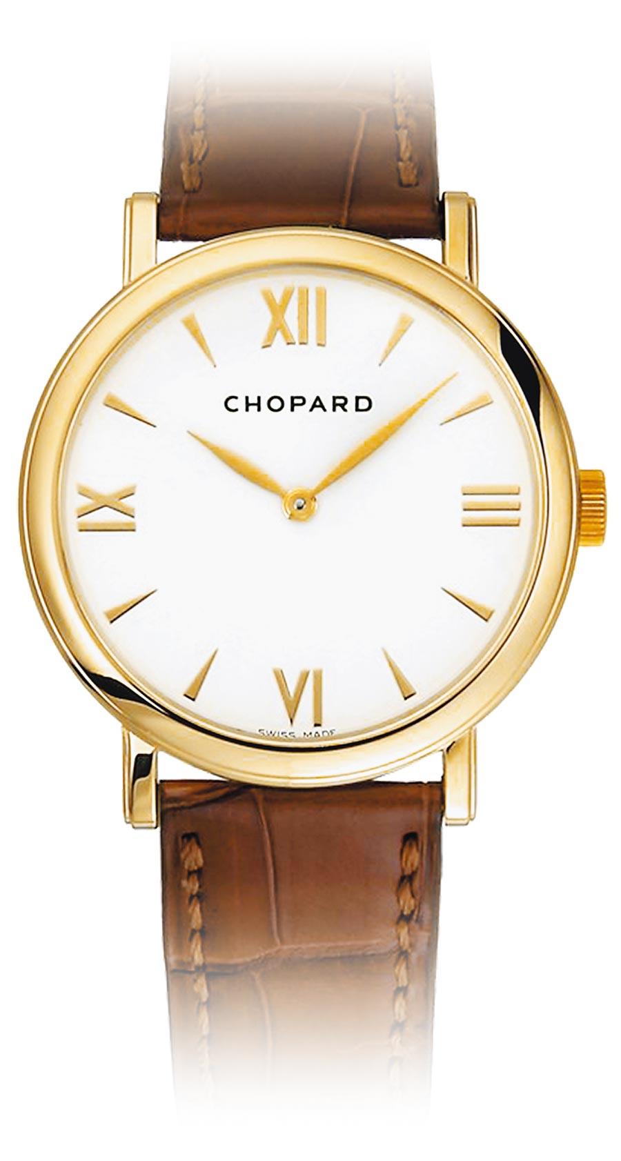 李奧納多狄卡皮歐在《從前,有個好萊塢》佩戴蕭邦經典18K金男表,奢華品味破表。(CHOPARD提供)