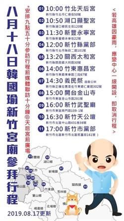 韓國瑜今日新竹參拜  全行程表看這裡