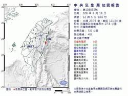 花蓮壽豐規模4.8地震 氣象局:不排除後續有規模5以上地震